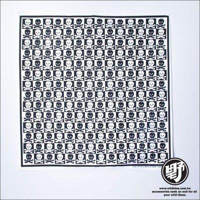 【野點子 Wild Idea】骷髏頭造型頭巾- 黑白方格-頭巾‧方巾‧手帕‧領巾
