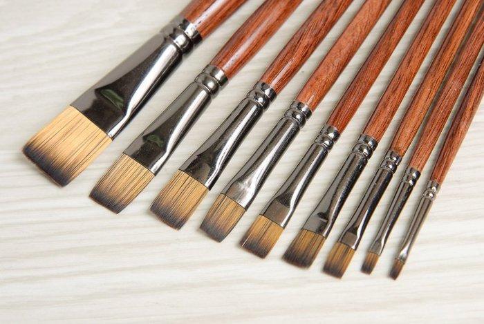 【Artshop美術用品】Miro Art 8701 壓克力油畫兩用筆(平) 全系列10支