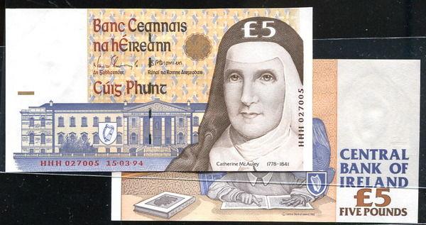 IRELAND  REP(愛爾蘭紙幣),P75a,5-POUND,15.03.94,品相95新AU+