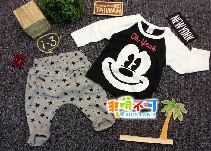 非萌不可長袖童裝-台製黑白配米老鼠星星薄棉成套長袖上衣/幼童長褲