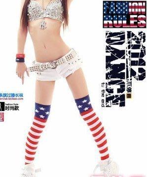 艾蜜莉舞蹈用品*舞蹈襪*美國國旗長統襪/星星條紋過膝大腿襪 $130元
