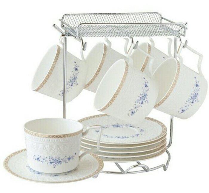 蘇格蘭骨瓷咖啡杯 花茶杯 六杯六盤收納架杯架/禮盒組【 蘇菲亞精品傢飾】