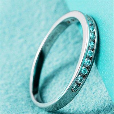 大牌同款 純銀包厚鉑金鑲嵌有邊仿真鑽戒...