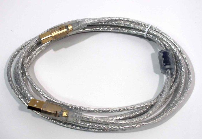 【開心驛站】3米 USB2.0 A公-B公鍍金透明強化線