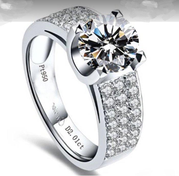 時尚韓版飾品 925純銀鍍鉑金指環 鑲嵌高碳仿真鑽2克拉男士戒指 精工滿 鑽戒高碳仿真鑽石  FOREVER鑽寶