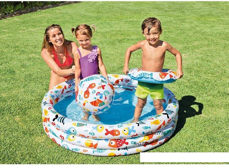 INTEX59469  小魚充氣遊戲池三件式  游泳圈 玩水 戲水沙灘球 遊戲球池