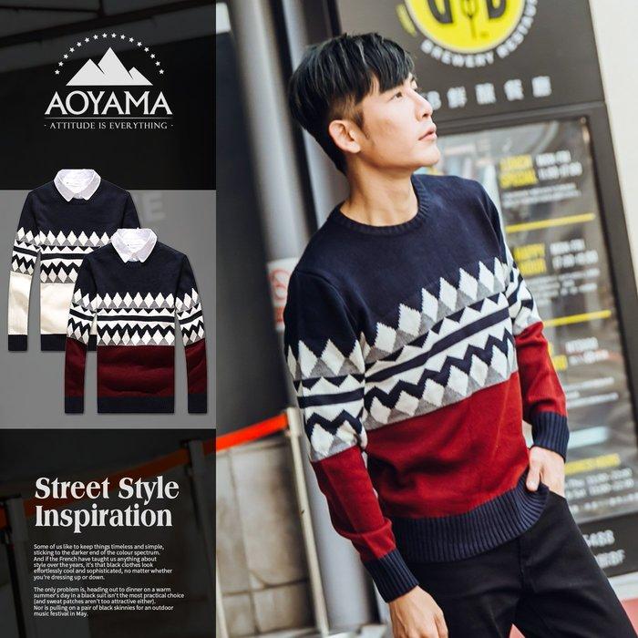 針織毛衣 菱格紋對比配色保暖針織毛衣【X50091】 青山AOYAMA