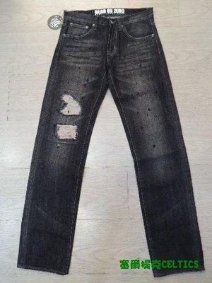 塞尔提克CELTICS~HOZ HERO OR ZERO~刷破泼墨 牛王 牛仔裤(黑)~直购490.现货30.32腰