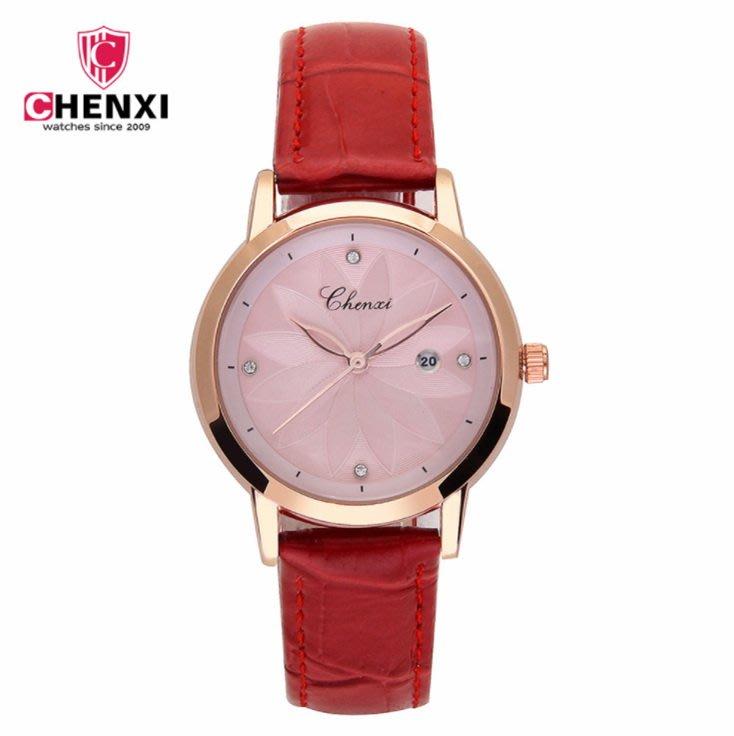 【潮鞋基地】CHENXI/晨曦新款時尚潮流女錶鑲鑽皮錶帶學生腕錶防水日曆303L