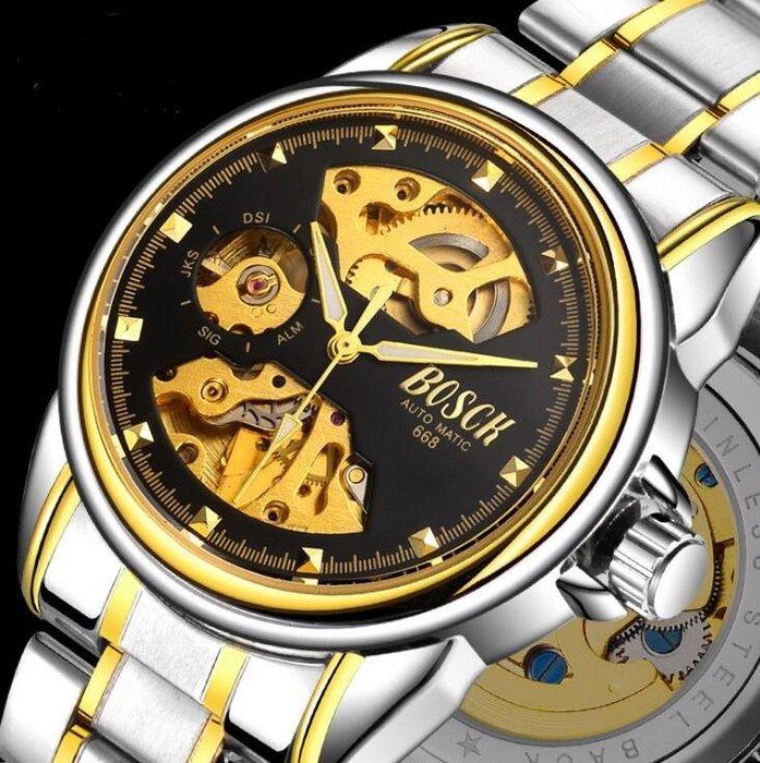 全自動機械手錶 韓版商務鏤空男士手錶防水機械  自動機械手錶 運動手錶真皮錶帶3084