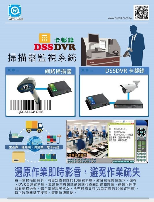 QRCALL 卡都錄DSSDVR 掃描器監視系統 掃描器+AHD1080P高清錄影機+CCTV攝影機X4支