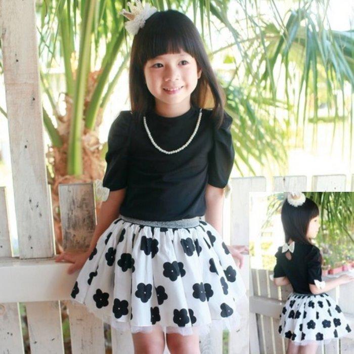 【班比納精品童裝】蝴蝶結珍珠項鍊裙褲套裝-黑
