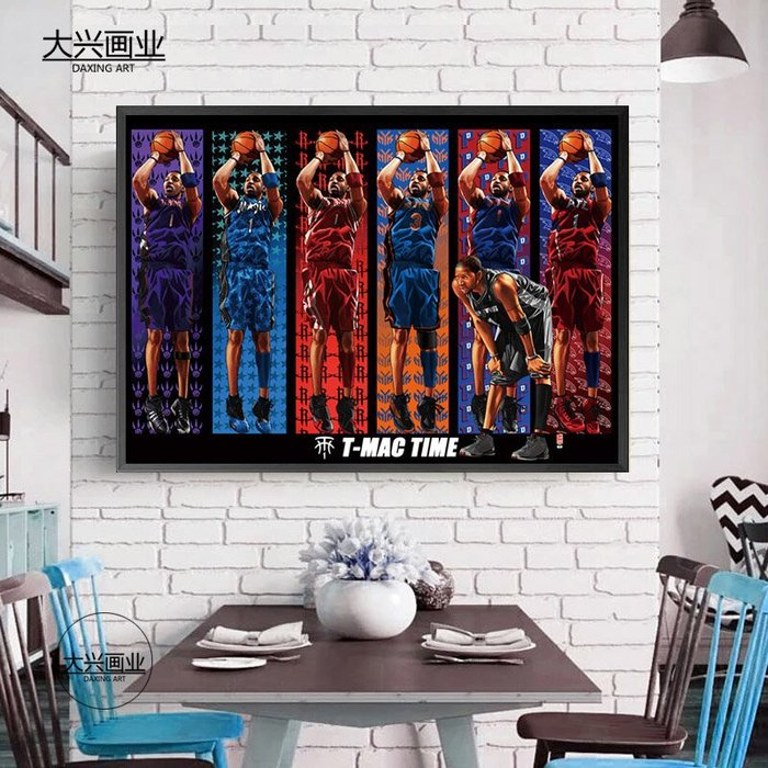 麥迪海報掛畫NBA籃球明星裝飾畫牆畫壁畫禮物火箭魔術麥蒂TMAC(多款可選)
