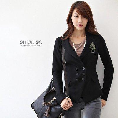享瘦衣身中大尺碼‧ 【B3060】時尚雙排扣顯瘦西裝外套