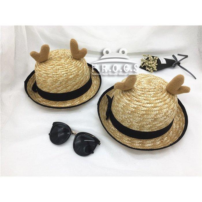 F.R.O.G.S H0278日韓INS款手工親子帽草編立體鹿角造型沙灘帽捲邊帽禮帽草帽休閒帽編織帽遮陽帽(現+預)