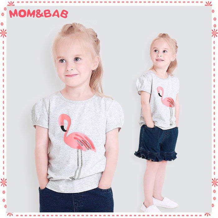 貝克比比屋☆2018夏天mom and bab 甜美可愛紅鶴短袖上衣/純棉短T*24m、3T、4T、5T、6T、7T