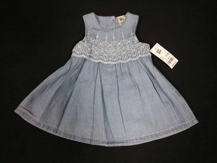 【千嬌百媚】OSHKOSH 美國童裝 全新正品  丹寧牛仔 繡花圖案 無袖 洋裝  0-3M 附吊牌    現貨在台