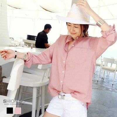享瘦衣身中大尺碼【B1949】素面寬鬆感襯衫