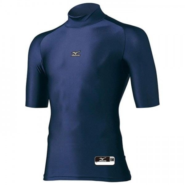 MIZUNO美津濃 兒童/少年 日本同步 短袖 緊身衣 排汗衣 防寒衣 泳衣 高領 12JA4C5114 深藍 現貨
