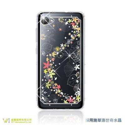 【WT 威騰國際】WT® HTC Desire 12 施華洛世奇水晶 彩繪空壓殼 軟殼 -【楓彩】