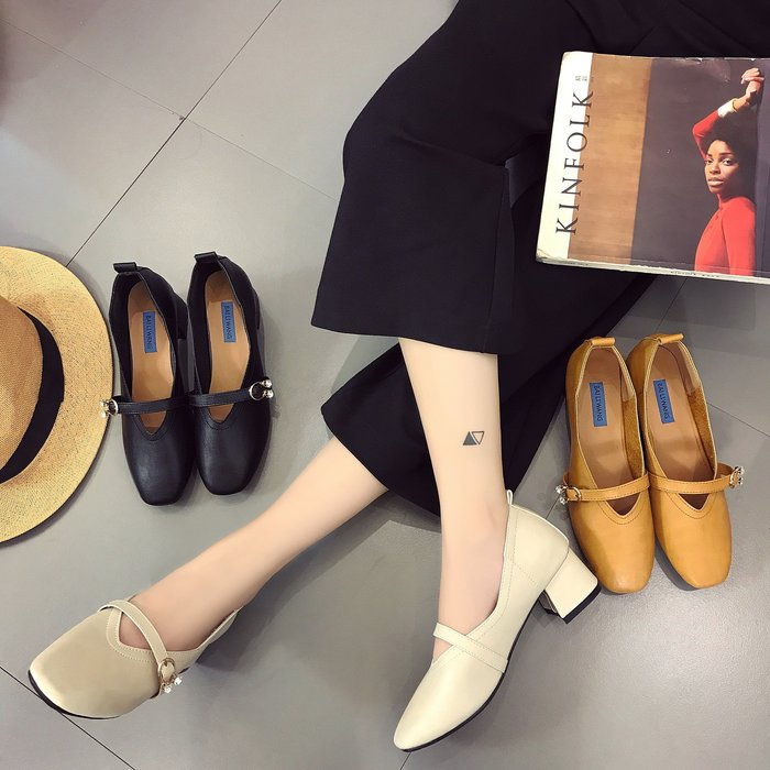 安琪兒╭日系美鞋☆韓系風簡約時尚粗跟淺口單鞋 女鞋【S3875】懶人鞋復古包頭粗跟高跟鞋