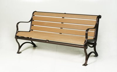 [兄弟牌戶外休閒傢俱]塑木鋁合金有背雙人公園椅L129*W72*H79~門口騎樓公園陽台,大型開放空間堅固耐用。