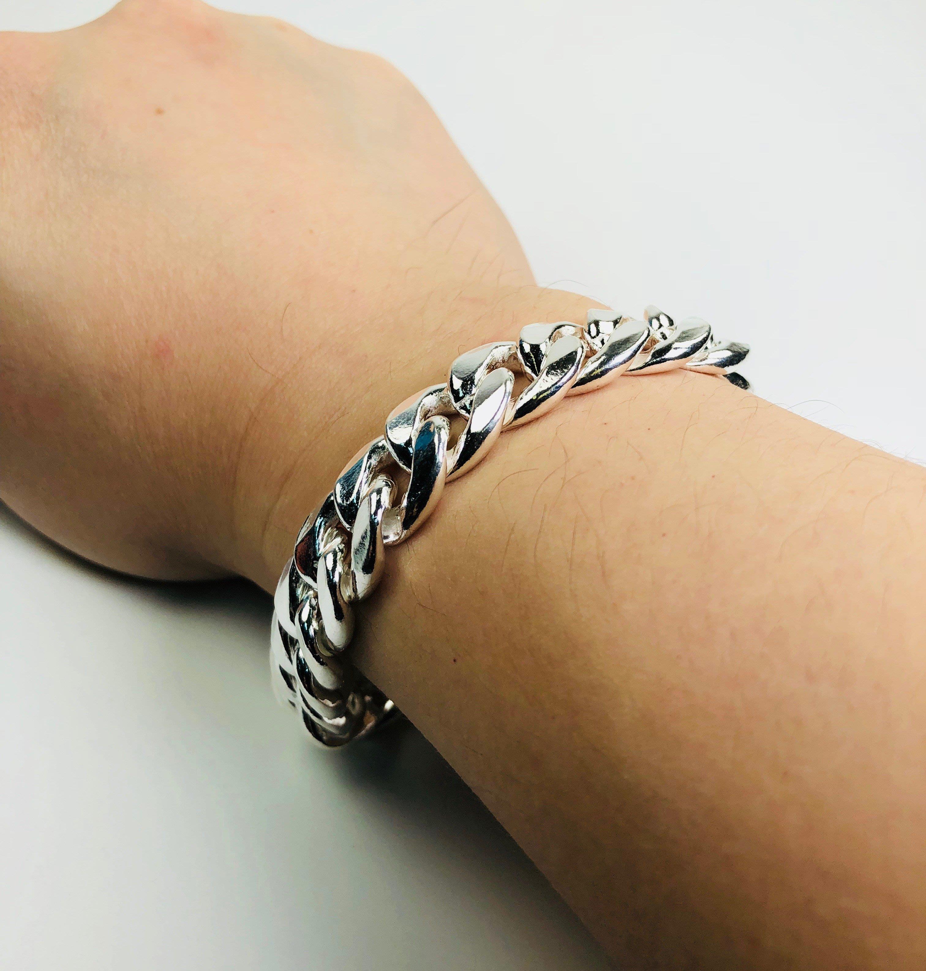 925純銀手鍊 型男寬扁鎖鍊 SKY 銀飾