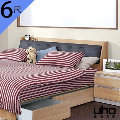 床頭箱【UHO】艾美爾6尺雙人加大下掀式皮革床頭箱 免運費 HO18-427-3