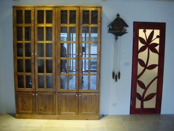 原木工坊~ 原木家具訂做設計  實木玻璃門收納櫃
