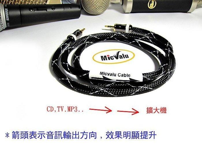 MicValu 手工線日本Canare音頻線發燒線0.5公尺 3.5轉3.5全新頂級發燒線對錄線3.5mm對3.5mm