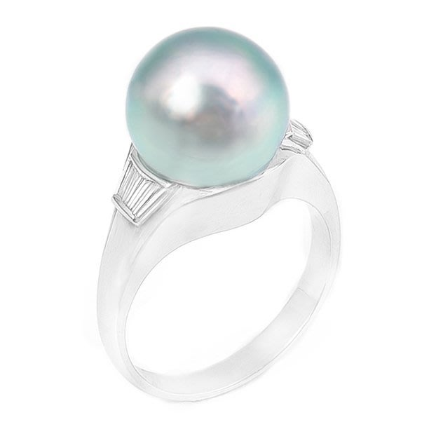 【JHT 金宏總珠寶/GIA鑽石專賣】11.2mm天然黑珍珠鑽戒/材質:PT900(JB7-A18)