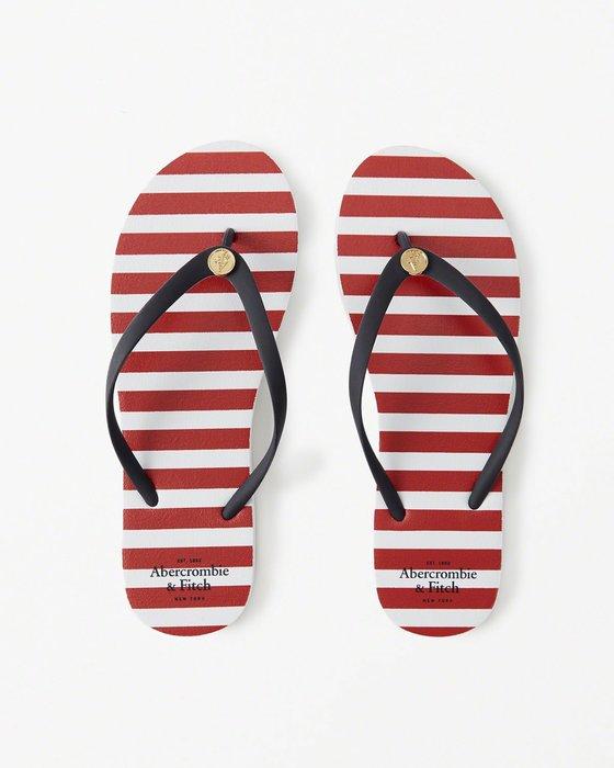 【天普小棧】A&F Abercrombie Striped Rubber Flip Flops logo條紋人字夾腳拖鞋