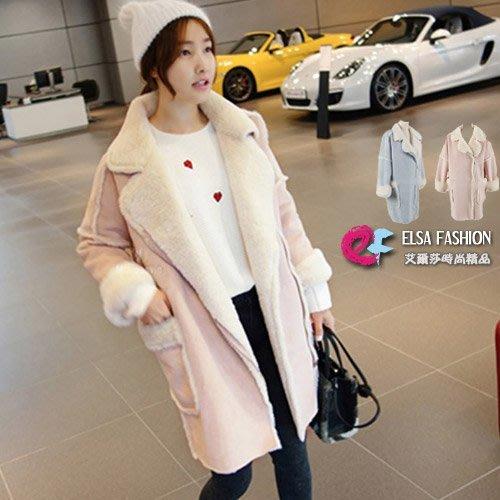 夾克 優雅氣息純色大口袋羊羔毛外套 艾爾莎【TAE4543】