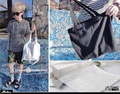 [ j.z world 小版男裝 ] 獨家預購款 GD韓國無印風 復古帆布包 側/肩背包 購物袋 托特包 書包 12色