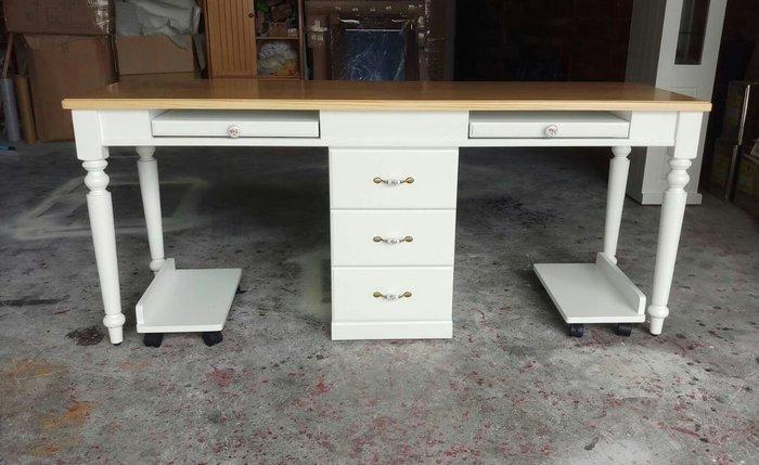 美生活館 全新美式鄉村傢俱訂製 客製化 設計師款 雙人電腦收納書桌 美甲桌工作桌秘書桌寫字桌餐桌會議桌也可修改尺寸再報價