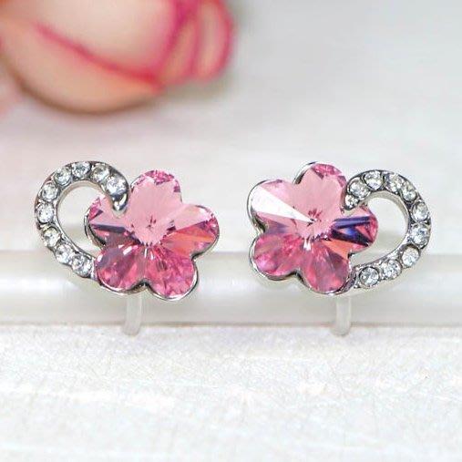 浪漫派飾品 G691 心花朵朵開 夾式耳環 矽膠耳環 無耳洞專用