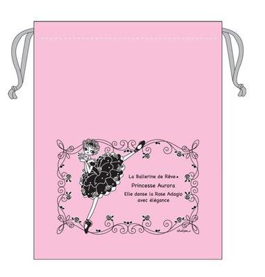芭蕾小棧生日畢業表演禮物日本進口CHELSEA浪漫文具舞者束口袋舞衣袋舞鞋袋粉紅底黑圖