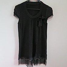 BEAR HOUSE 圓領樣式 點點蝴蝶結點綴 蕾絲袖子X下擺 短袖上衣