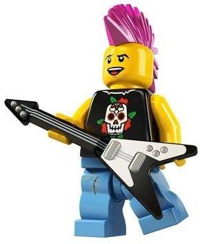 絕版品【LEGO 樂高】玩具 積木/ Minifigures人偶包系列: 4代 8804 單一人偶: 龐克音樂吉他手