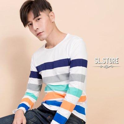 SL Store【CLT015】繽粉五色條紋休閒棉質圓領長T.白/M/L/XL