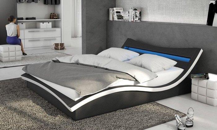 【DH】N570-5商品名稱《康納》6尺黑皮雙人床(圖一)附LED2燈/備有5尺另計。主要地區免運費