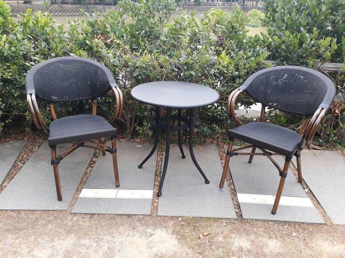 [兄弟牌戶外休閒傢俱]星巴克鋁合金休閒椅2張+60cm鐵板桌/套~紗網背座透氣舒適,28mm鋁合金管戶外不生鏽水洗好清潔
