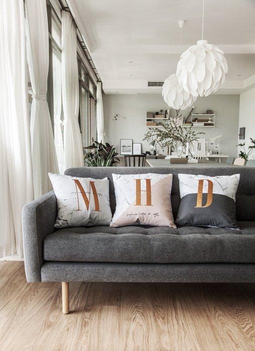 - Meiprunus -原創 設計 全棉 英文 字母 大理石紋 沙發墊 床頭 靠腰 抱枕 靠枕 M/H/D