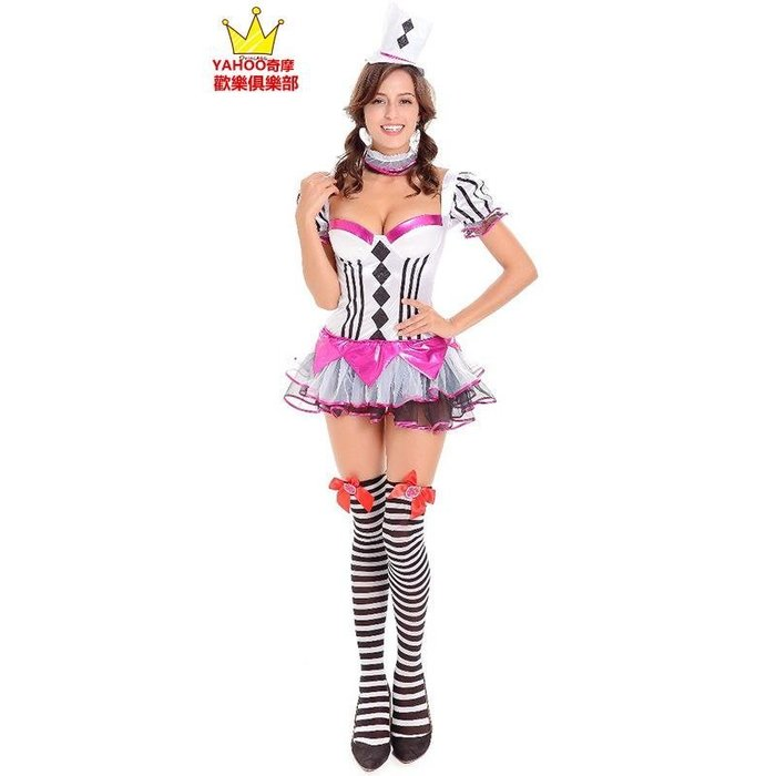 歡樂俱樂部 節日排隊服裝 表演 撲克服 萬圣節小丑服愛麗絲女傭服制服誘惑魔術表演助手服 精