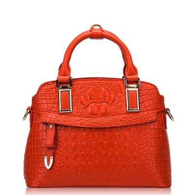 手提 包 真皮 肩背 包-時尚高貴經典鱷魚紋女包包3色73se7[獨家進口][米蘭精品]