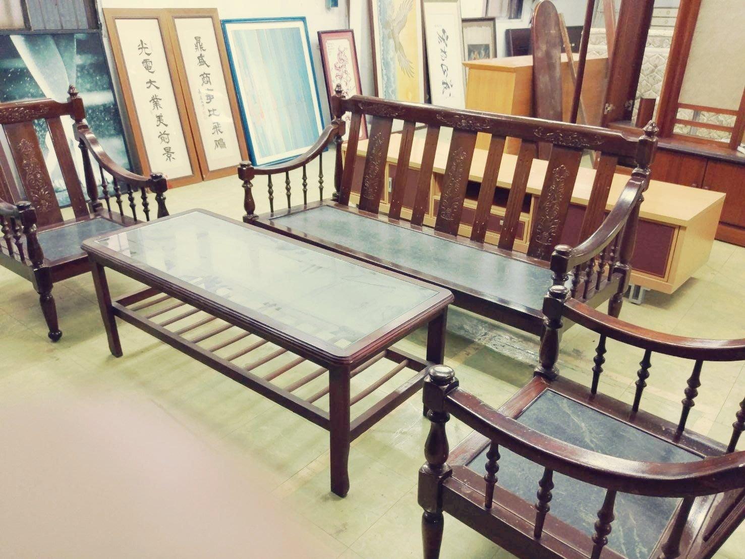 大樹二手家具買賣 古董大理石木沙發