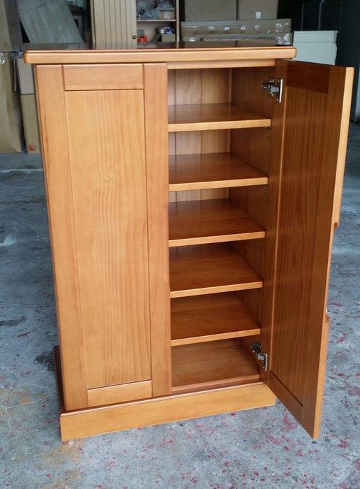 美生活館--鄉村家具訂製 紐松全原木柚木色 雙門收納櫃 鞋櫃 置物櫃 隔間櫃 高低櫃 書櫃 也可修改尺寸與顏色再報價