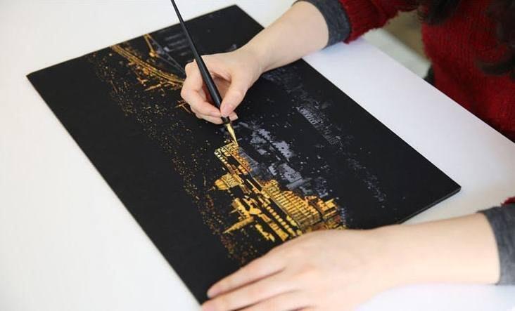 韓國scratch night view手刮城市 專用刮畫筆 (另有金色夜景Lago刮畫)