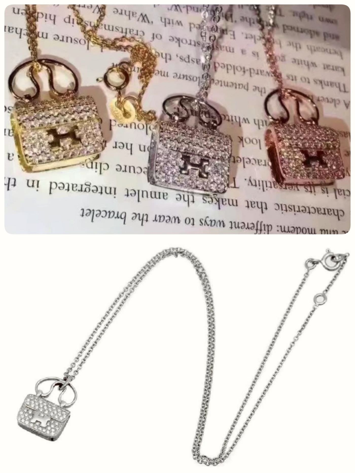Hermes 18K 鑽石項鍊