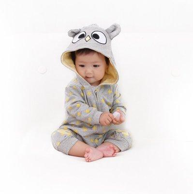 [ohmybaby]嬰兒連身衣 寶寶 可愛貓頭鷹造型服 動物造型衣 外套 哈衣 爬服 春秋款